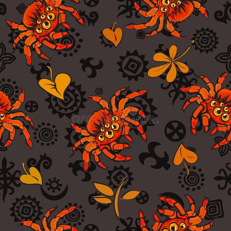 Modelo inconsútil de Halloween con las arañas y las hojas de otoño gigantescas rojas en estilo de la historieta Vector libre illustration