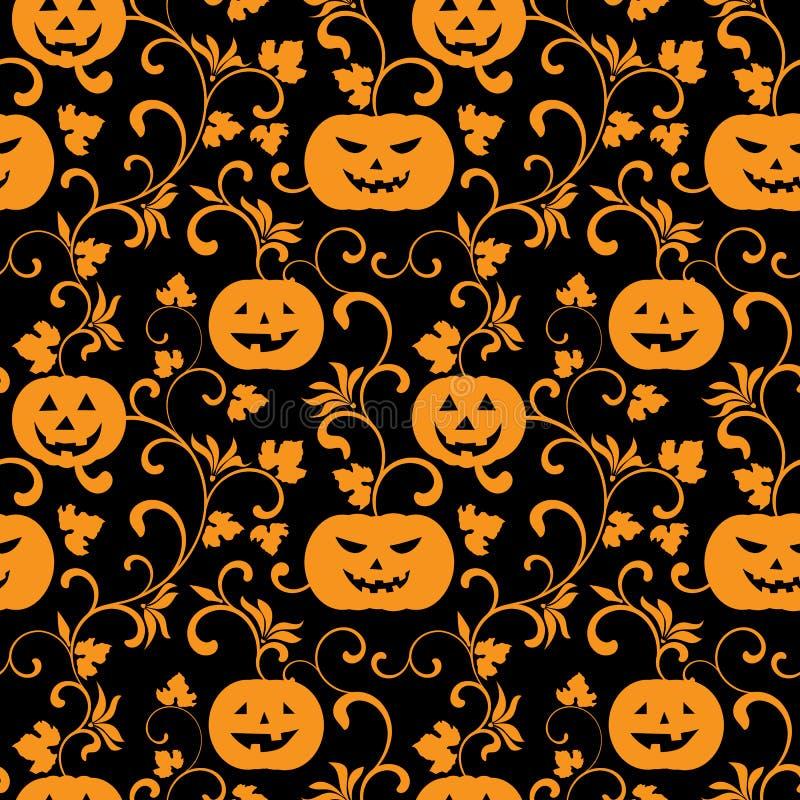 Modelo inconsútil de Halloween con las calabazas en un fondo negro libre illustration
