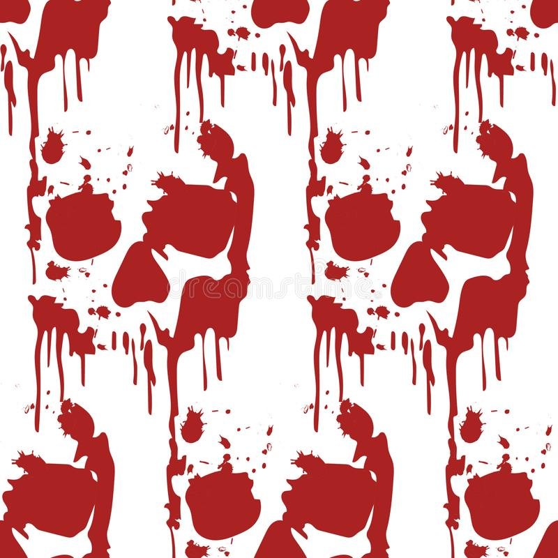 Modelo inconsútil de Halloween con los cráneos asustadizos gráficos rojos imágenes de archivo libres de regalías