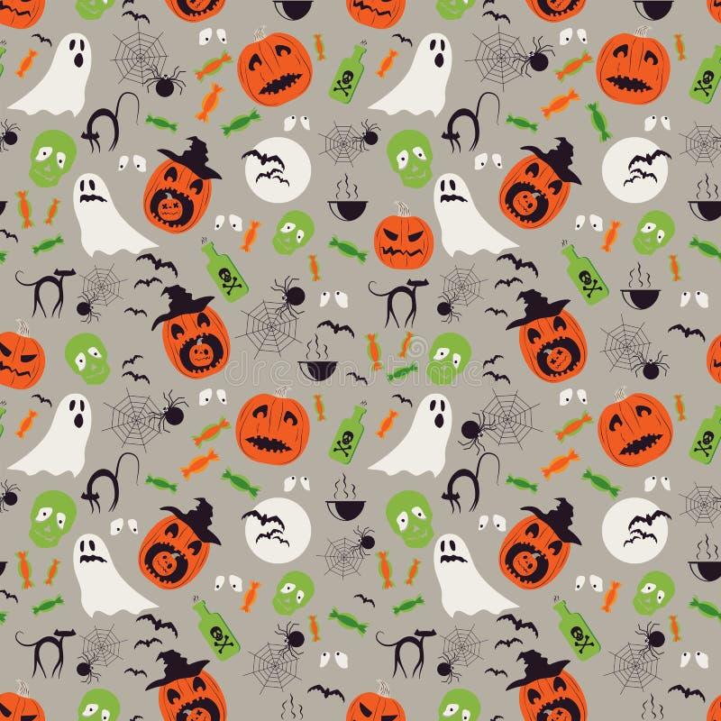 Modelo inconsútil de Halloween de la historieta Fantasmas de Halloween, red de las arañas y caracteres del abucheo de la calabaza libre illustration