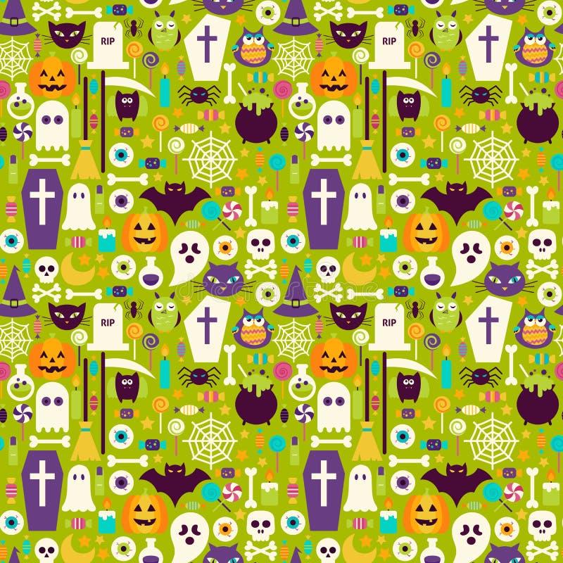 Modelo inconsútil de Halloween de los elementos planos del día de fiesta ilustración del vector
