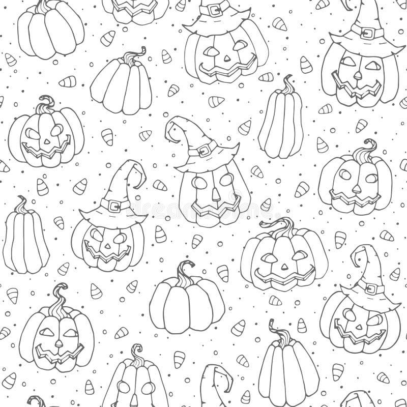 Modelo inconsútil de Halloween del vector con las pastillas de caramelo, las calabazas sonrientes y el esquema negro de los sombr libre illustration