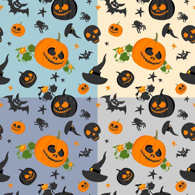 Modelo inconsútil de Halloween en fondo coloreado Accesorios de Halloween Ilustración del vector stock de ilustración
