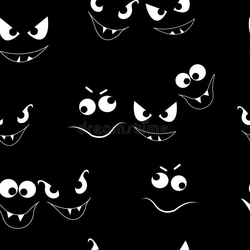 Modelo inconsútil de Halloween en fondo negro stock de ilustración