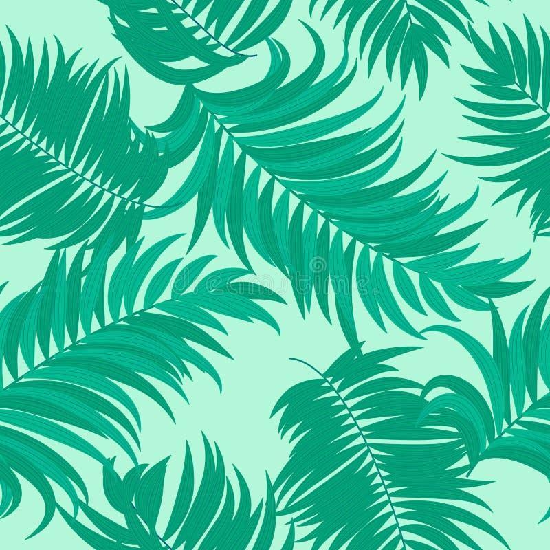 Modelo inconsútil de hojas tropicales de la palmera libre illustration