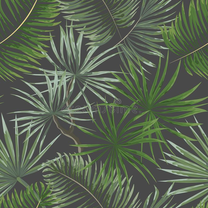 modelo inconsútil de hojas tropicales verdes claras en backgro gris stock de ilustración