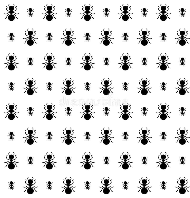 Modelo inconsútil de hormigas en color blanco y negro ilustración del vector
