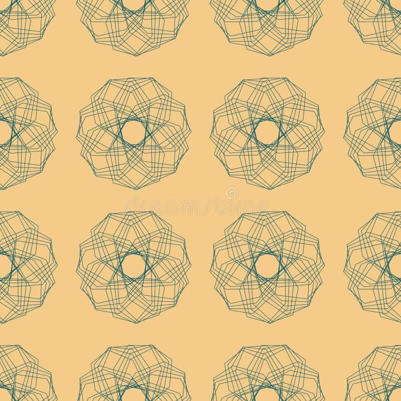 Modelo inconsútil de Líneas Verdes rotas poligonales abstractas de figuras en el fondo beige, ejemplo stock de ilustración