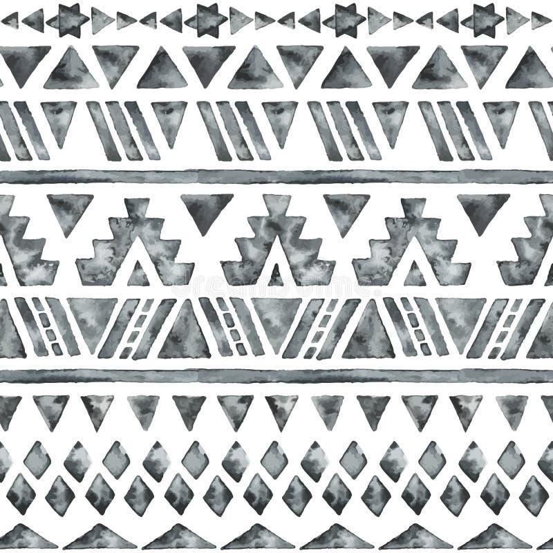 Modelo inconsútil de la acuarela étnica ilustración del vector