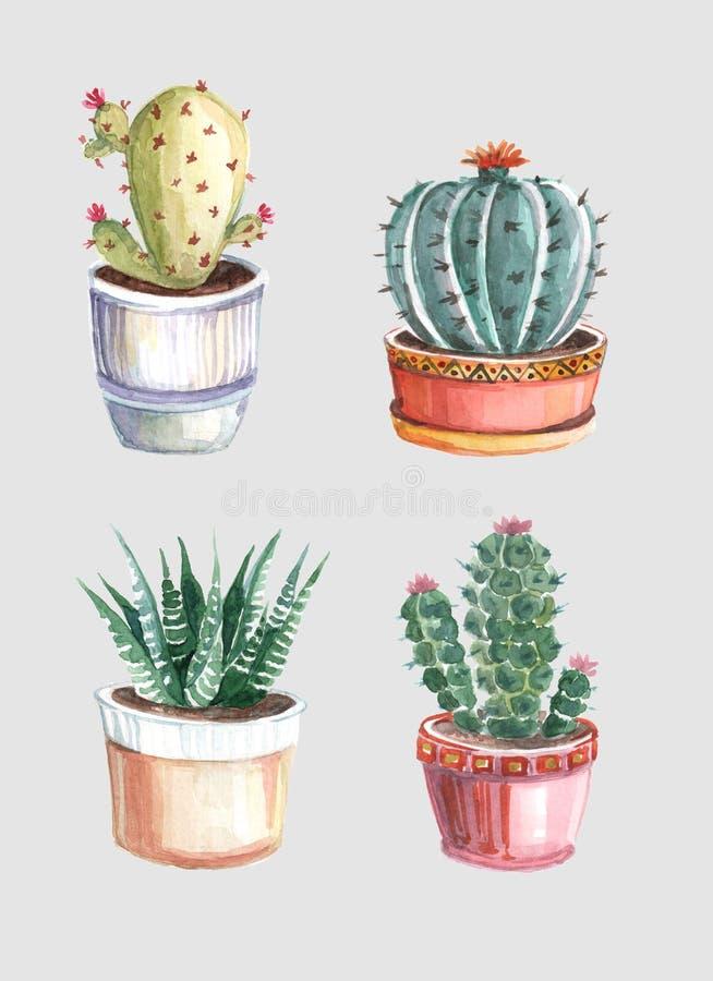 modelo inconsútil de la acuarela de cactus y de succulents watercolor fotos de archivo