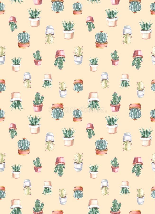 modelo inconsútil de la acuarela de cactus y de succulents watercolor libre illustration