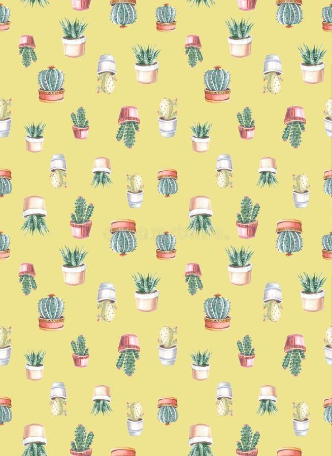 modelo inconsútil de la acuarela de cactus y de succulents watercolor ilustración del vector
