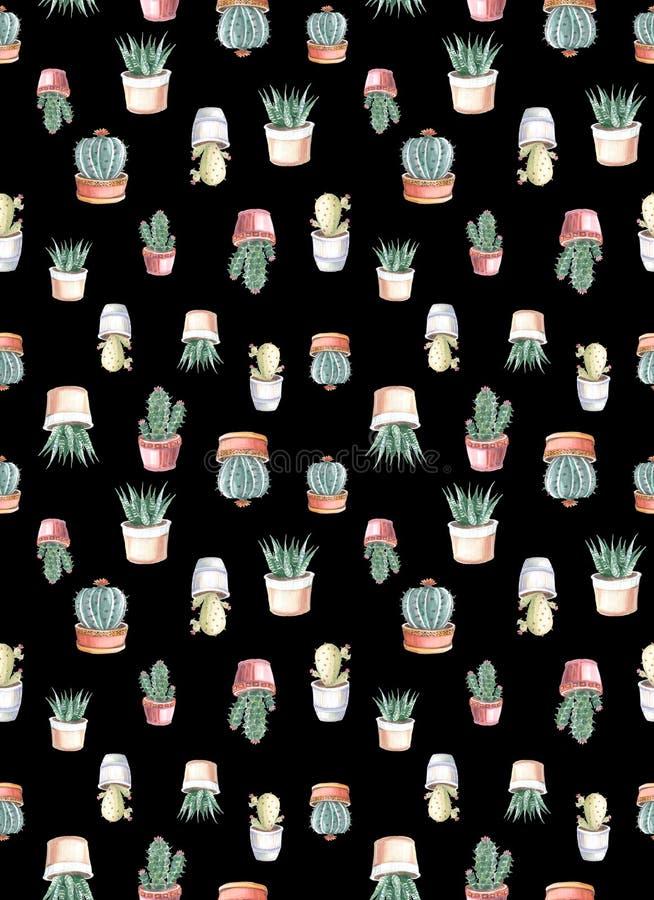 modelo inconsútil de la acuarela de cactus y de succulents watercolor stock de ilustración
