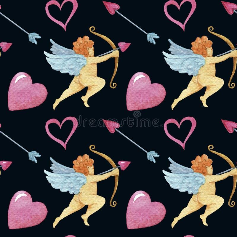 Modelo inconsútil de la acuarela con ángeles stock de ilustración