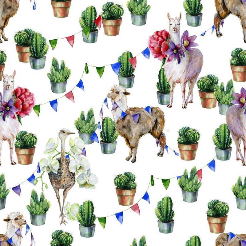 Modelo inconsútil de la acuarela con alpaca, la llama, la avestruz y el cactus libre illustration