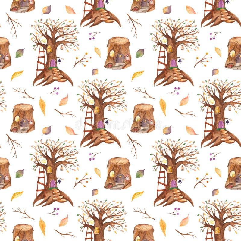 Modelo inconsútil de la acuarela con el árbol y el tocón del cuento de hadas stock de ilustración