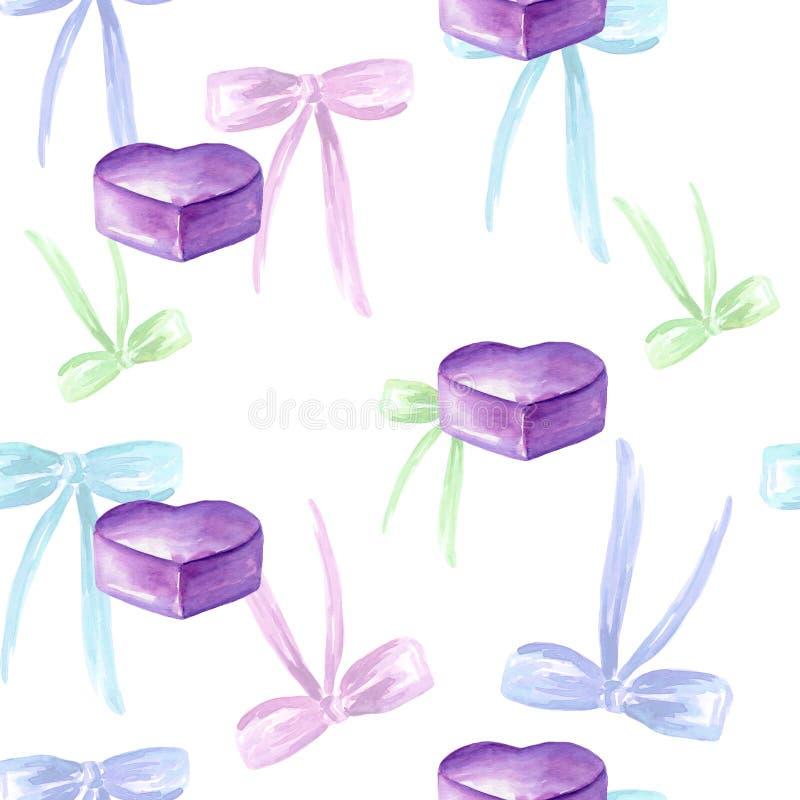 Modelo inconsútil de la acuarela con el arco coloreado, etiquetas, caja de regalo, corazón violeta stock de ilustración
