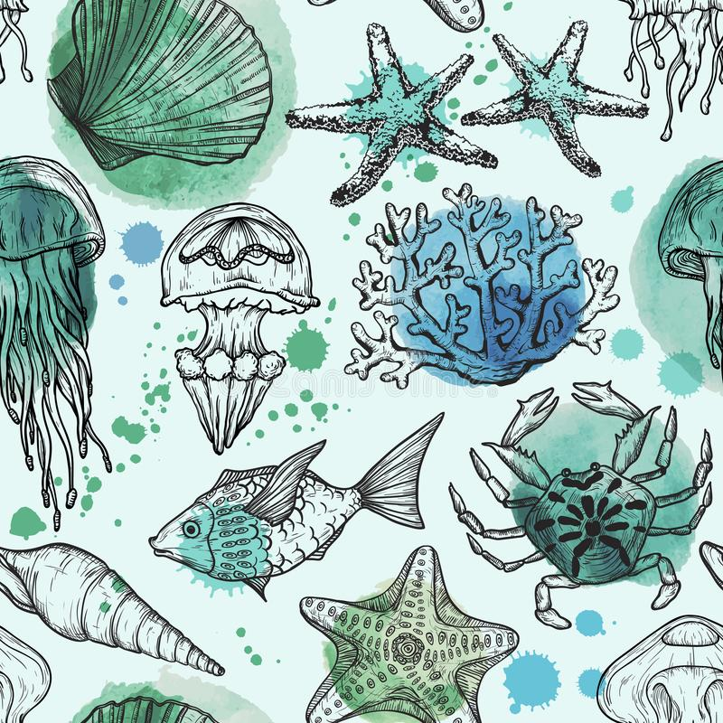 Modelo inconsútil de la acuarela con el bosquejo de las cáscaras, de los pescados, de los corales y de las medusas del mar Fondo  libre illustration
