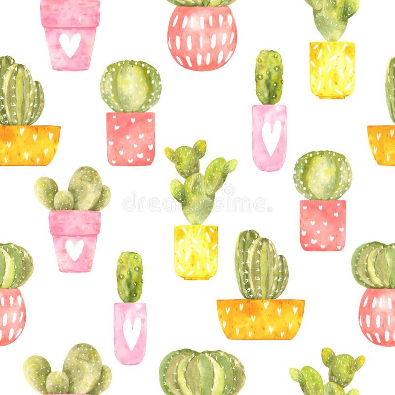 Modelo inconsútil de la acuarela con el cactus espinoso del ?ute en potes brillantes stock de ilustración