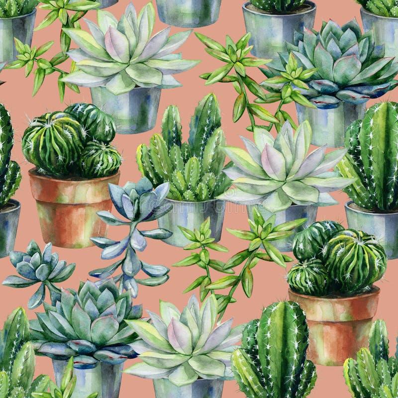 Modelo inconsútil de la acuarela con el cactus y los succulents en potes libre illustration
