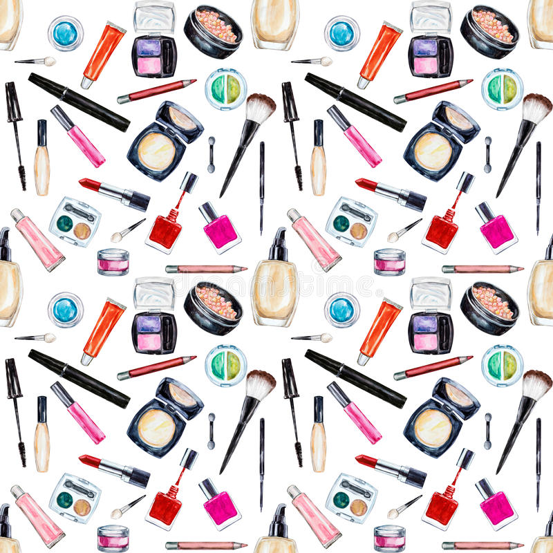 Modelo inconsútil de la acuarela con el cosmético, artículos de la belleza stock de ilustración