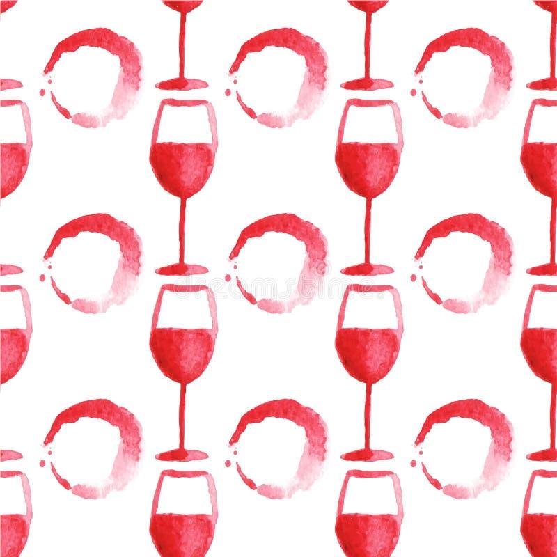 Modelo inconsútil de la acuarela con la copa de vino y libre illustration