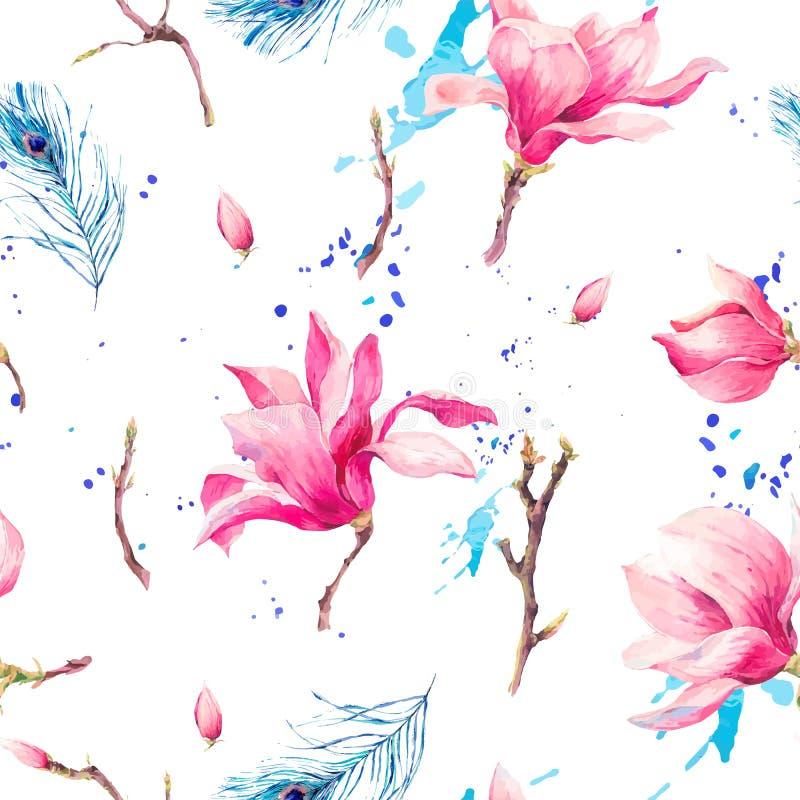 Modelo inconsútil de la acuarela con la magnolia de las flores libre illustration