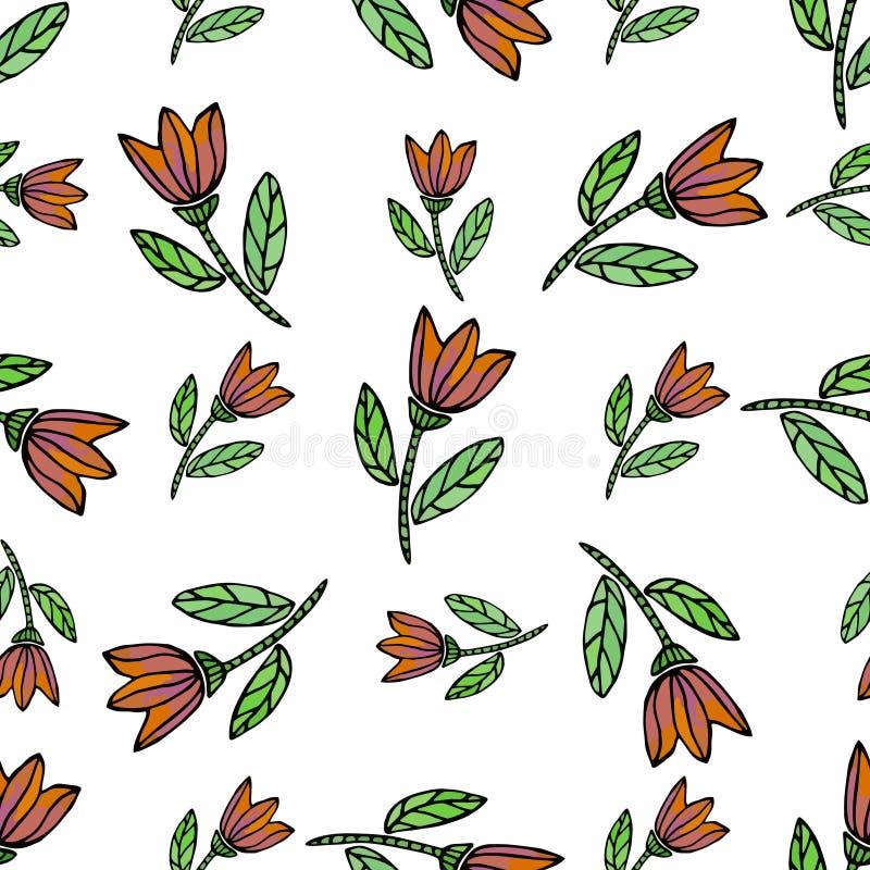 Modelo inconsútil de la acuarela con las flores étnicas Modelo inconsútil dibujado mano del vector La textura se puede utilizar p libre illustration