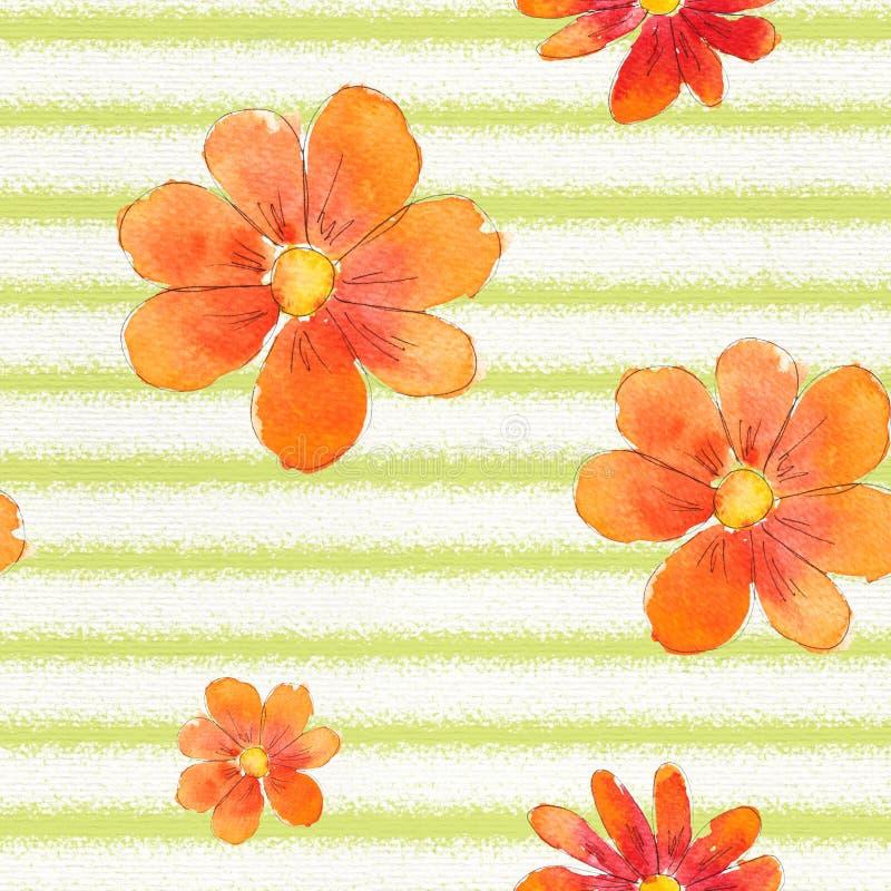 Modelo inconsútil de la acuarela con las flores stock de ilustración