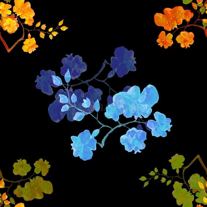 Modelo inconsútil de la acuarela con las flores de la orquídea stock de ilustración