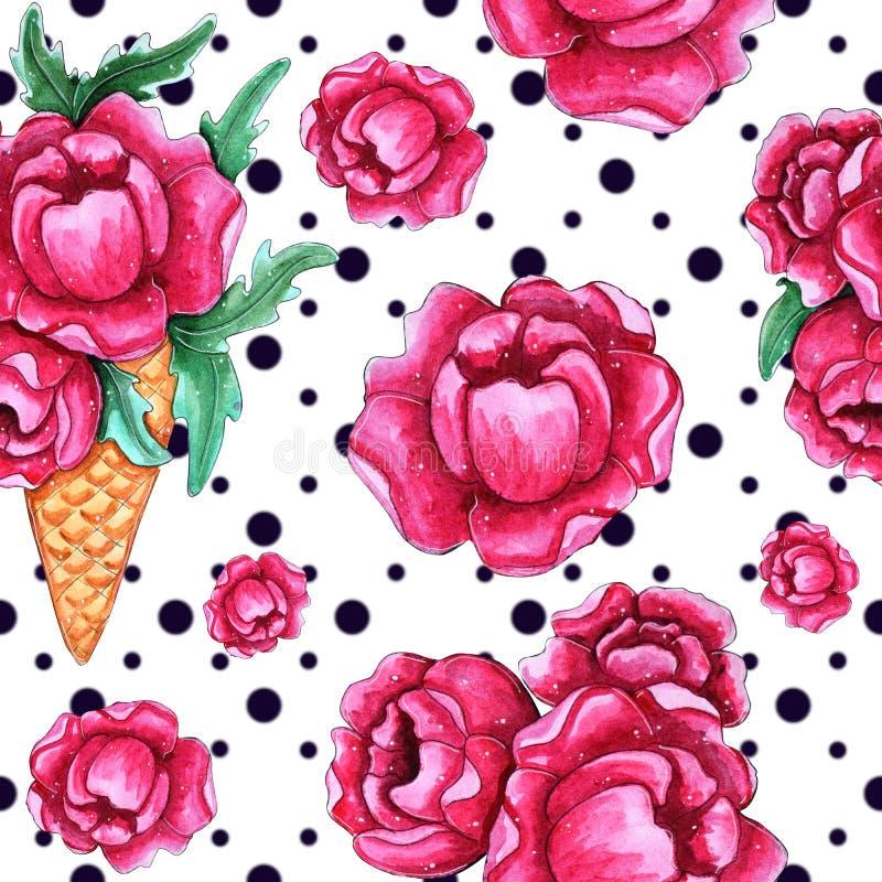 Modelo inconsútil de la acuarela con las flores rosadas de la peonía ilustración del vector