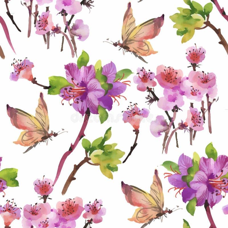 Modelo inconsútil de la acuarela con las flores y las hojas coloridas en el fondo blanco, estampado de flores de la acuarela, flo ilustración del vector