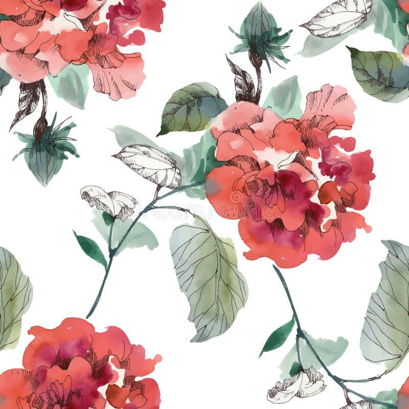 Modelo inconsútil de la acuarela con las flores y las hojas coloridas en el fondo blanco, estampado de flores de la acuarela, flo stock de ilustración