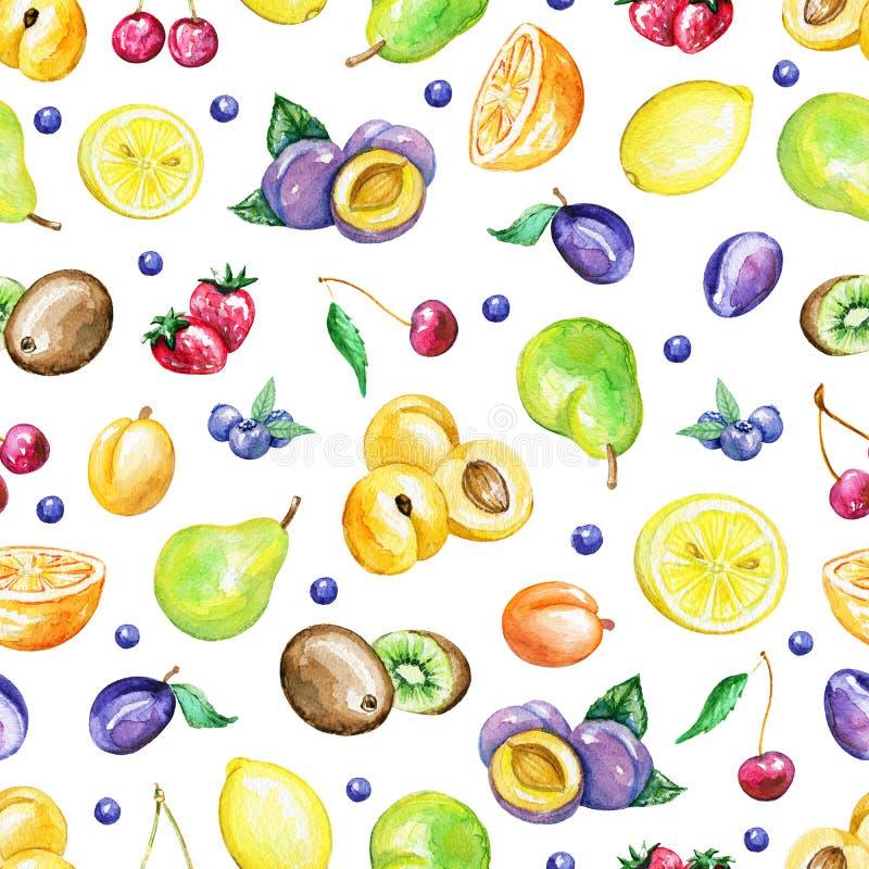 Modelo inconsútil de la acuarela con las frutas stock de ilustración