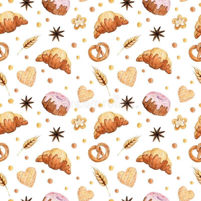 Modelo inconsútil de la acuarela con las galletas, las tortas, los cruasanes y el pretzel libre illustration