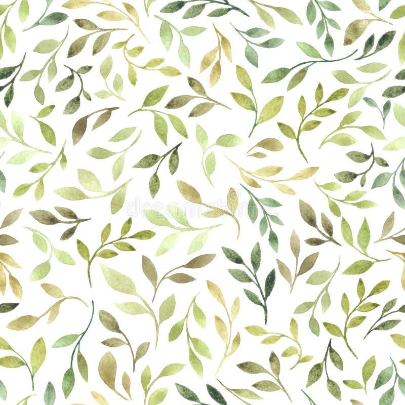 Modelo inconsútil de la acuarela con las hojas verdes stock de ilustración