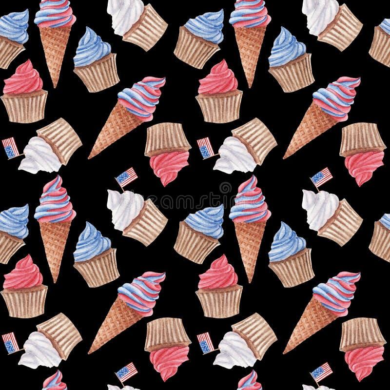 Modelo inconsútil de la acuarela con las magdalenas y el helado rojos, azules y blancos fotos de archivo libres de regalías