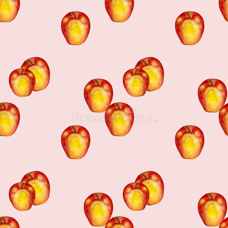 Modelo inconsútil de la acuarela con las manzanas rojo-amarillas ilustración del vector
