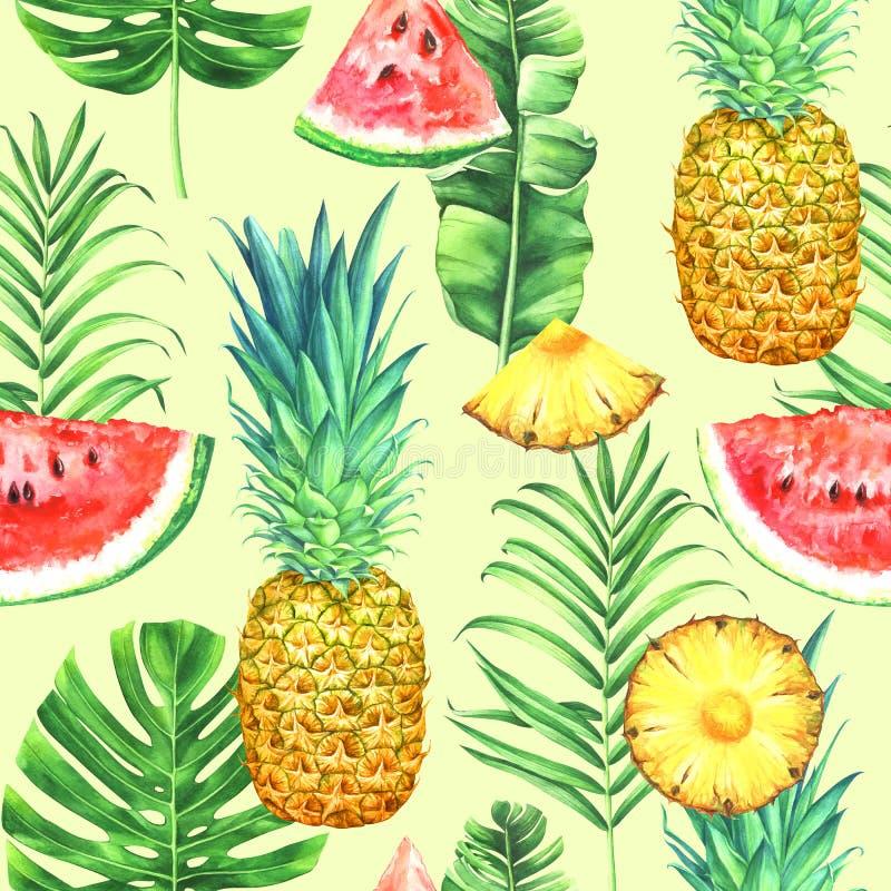 Modelo inconsútil de la acuarela con las piñas, las sandías y las hojas tropicales en fondo del limón Ejemplo tropical de la acua libre illustration