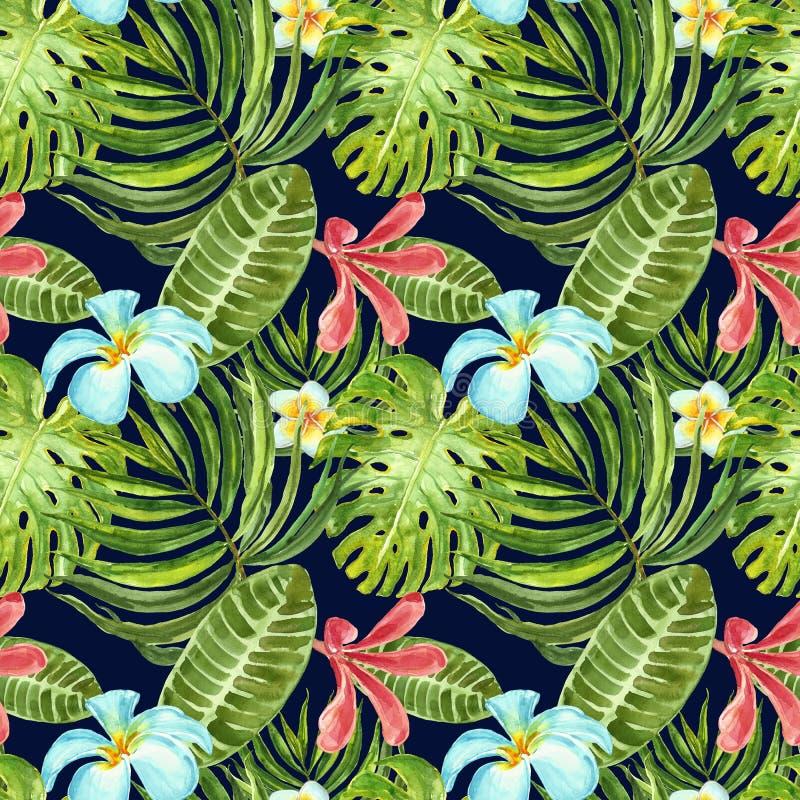 Modelo inconsútil de la acuarela con las plantas, las flores y las hojas exóticas en fondo azul marino Impresi?n tropical del ver ilustración del vector