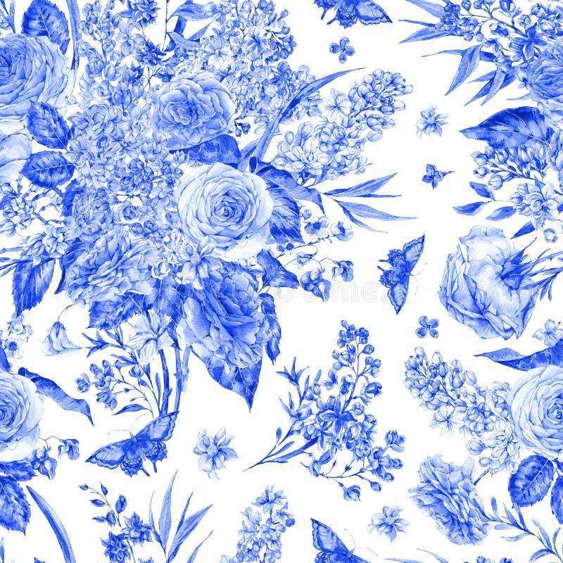 Modelo inconsútil de la acuarela con las rosas, lilas stock de ilustración