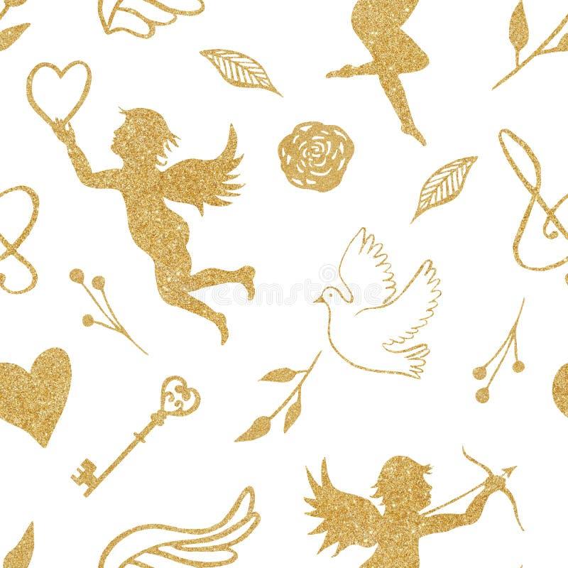 Modelo inconsútil de la acuarela con los ángeles de oro, corazones, pájaros, alas ilustración del vector
