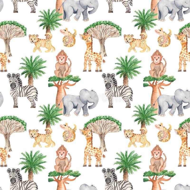 Modelo inconsútil de la acuarela con los árboles y los animales africanos stock de ilustración