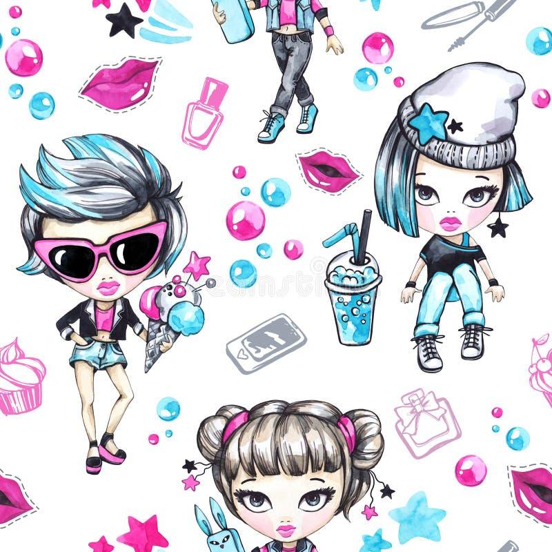 Modelo inconsútil de la acuarela con los adolescentes de la moda Muchachas atractivas con el helado y el teléfono, muchacha del g libre illustration