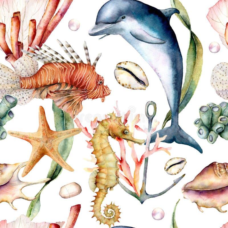 Modelo inconsútil de la acuarela con los animales Ejemplo pintado a mano del delfín, del lionfish, del seahorse y del ancla aisla ilustración del vector