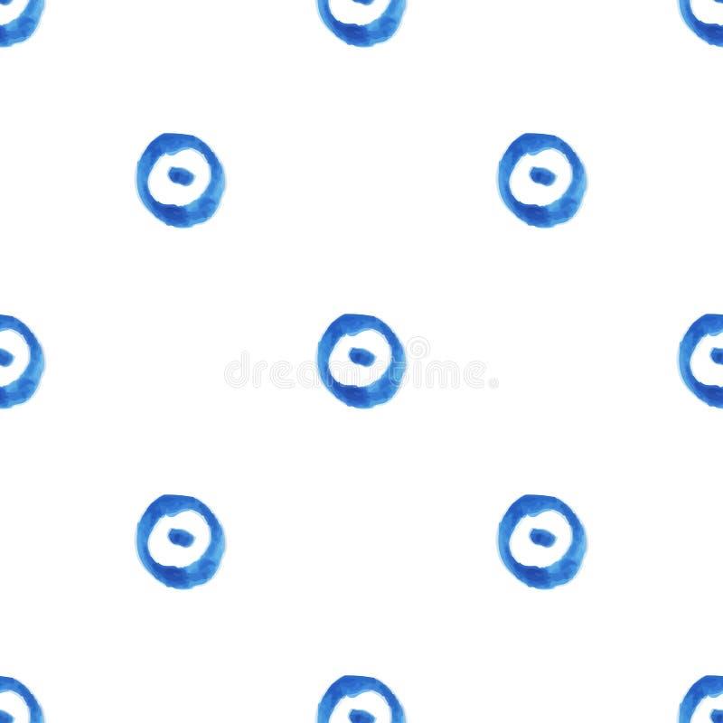 Modelo inconsútil de la acuarela con los círculos y los puntos ilustración del vector