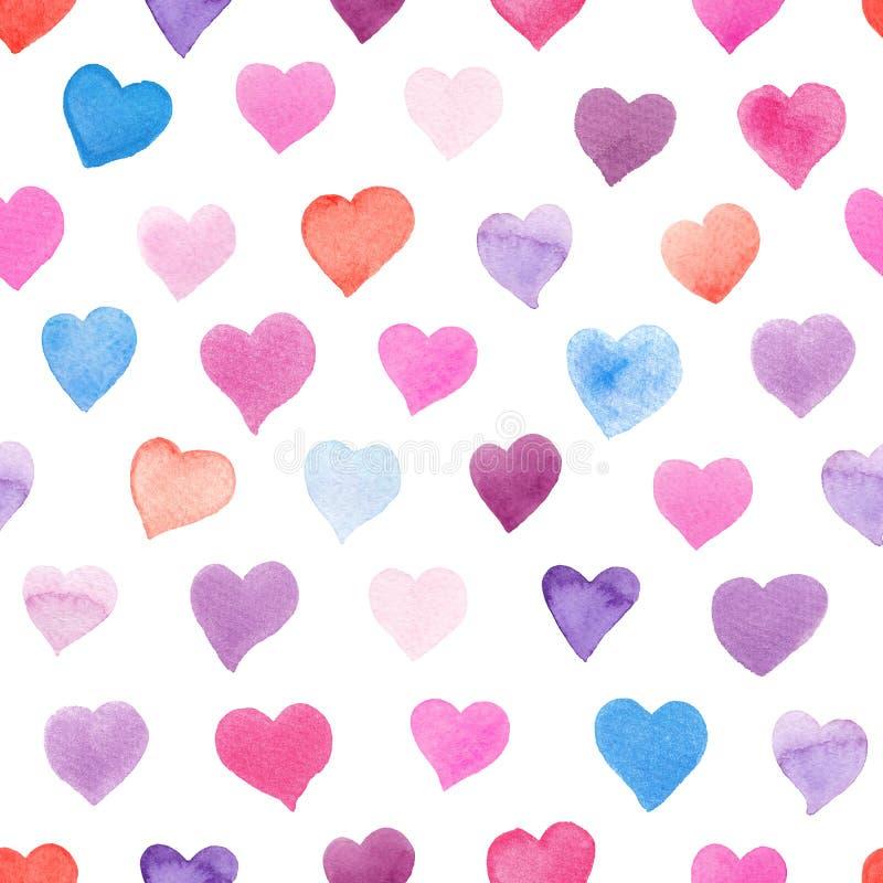 Modelo inconsútil de la acuarela con los corazones coloridos - rosados, tintes rojos, púrpuras, azules ilustración del vector