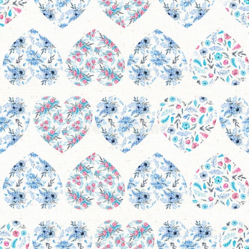 Modelo inconsútil de la acuarela con los corazones florales azules libre illustration