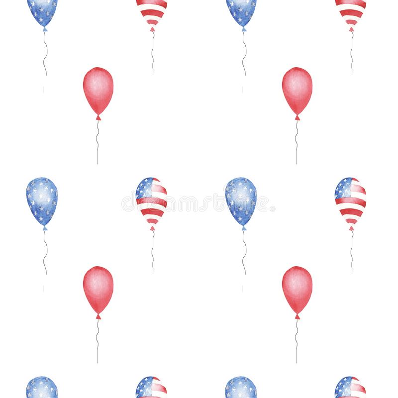 Modelo inconsútil de la acuarela con los globos rojos, azules, rayados y de las estrellas imagenes de archivo