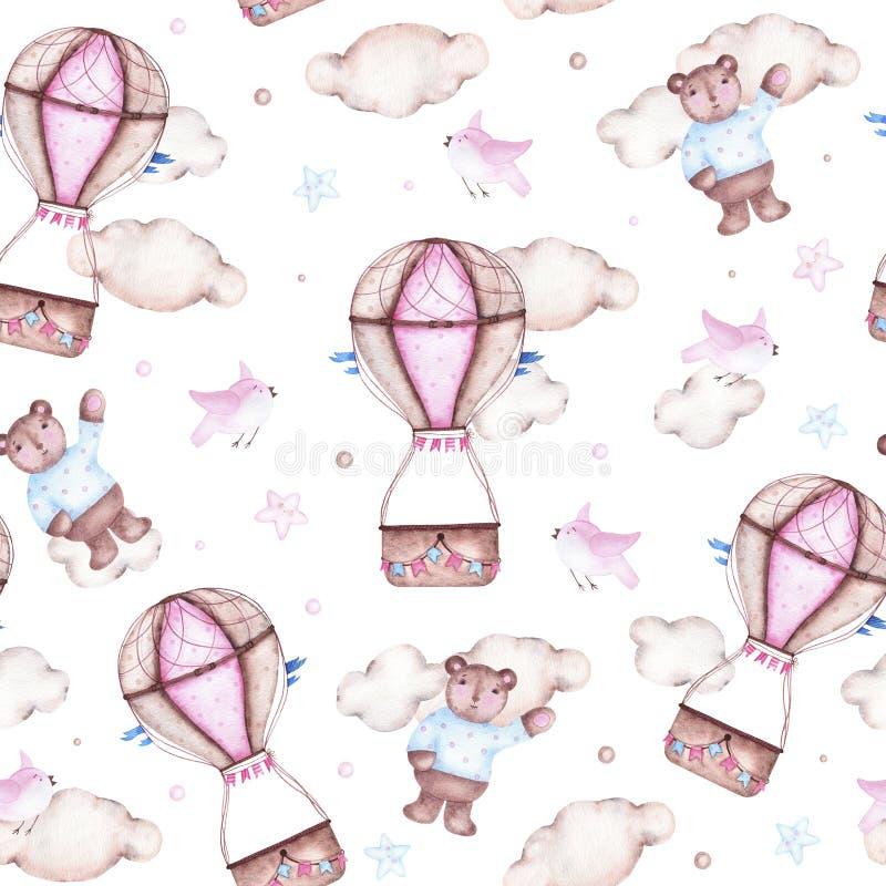 Modelo inconsútil de la acuarela con los pájaros y las nubes del oso del globo del aire caliente stock de ilustración